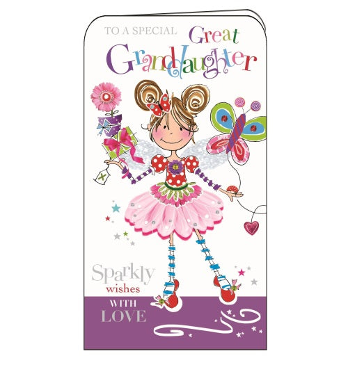 Jonny Javelin happy birthday great grandaughter great-granddaughter cute girl birthday girl card Nickery Nook