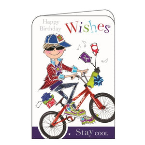 Jonny Javelin stay cool cycling happy birthday card Nickery Nook