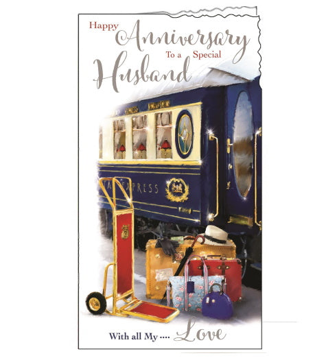 Jonny Javelin train special husband on our anniversary card Nickery Nook