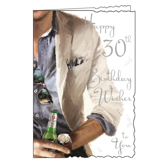 Jonny Javelin velvet  beer stylish 30th birthday card Nickery Nook