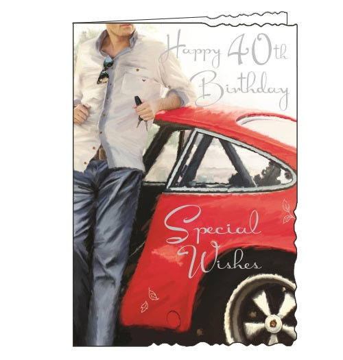Jonny Javelin velvet car 40th birthday card Nickery Nook