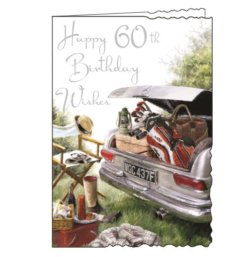 Jonny Javelin velvet golf picnic 60th birthday card Nickery Nook