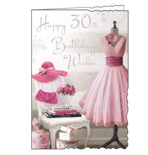 Jonny Javelin velvet shopping fashion 30th birthday card Nickery Nook