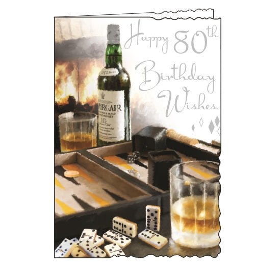 Jonny Javelin velvet whisky board games 80th birthday card Nickery Nook