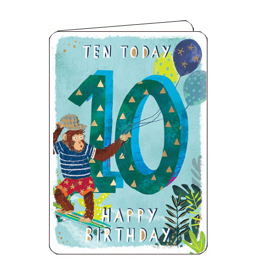 Ling Designs Happy 10th birthday card blue monkey