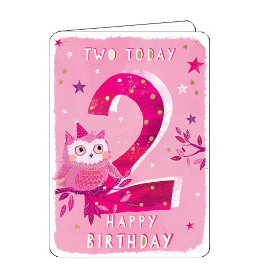 Ling Designs Happy 2nd birthday card pink owl