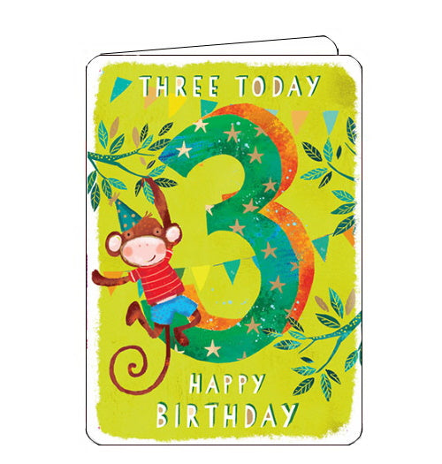 Ling Designs Happy 3rd birthday card monkey
