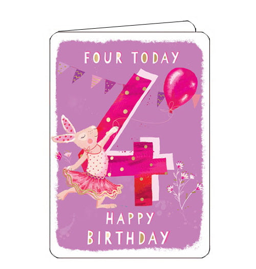 Ling Designs Happy 4th birthday card pink ballerina
