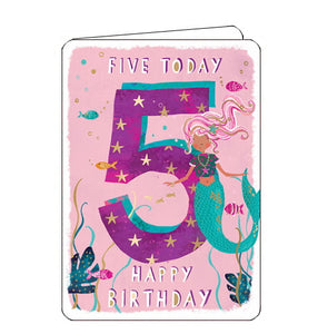 Ling Designs Happy 5th birthday card pink mermaid