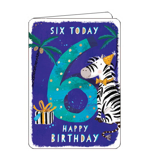 Ling Designs Happy 6th birthday card blue zebra