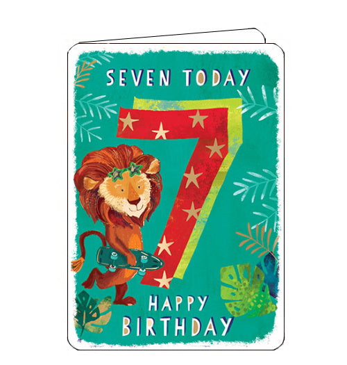 Ling Designs Happy 7th birthday card skateboarding lion