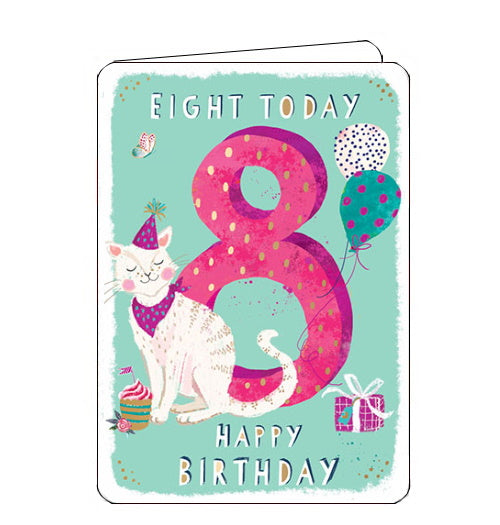 Ling Designs Happy 8th birthday card pink cat