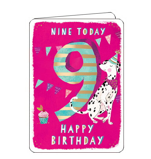 Ling Designs Happy 9th birthday card pink dalmatian dog