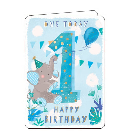 Ling Designs first birthday cards Happy 1st Birthday birthday cards blue