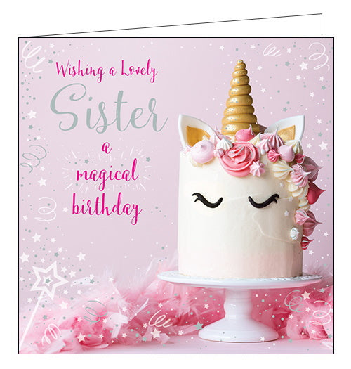 Ling Designs unicorn cake sister birthday card