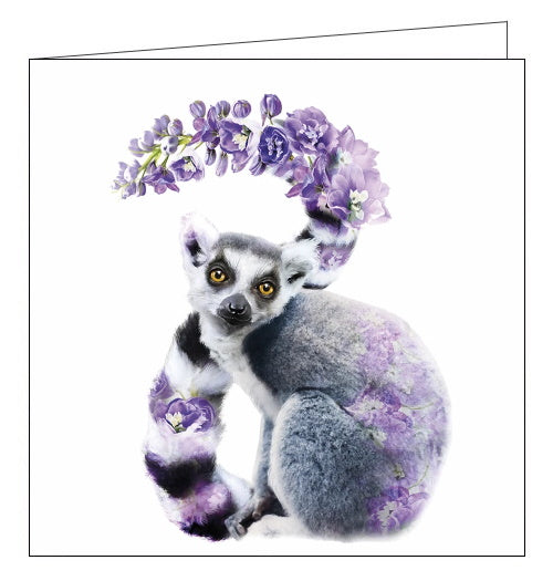 Lola Designs ring-tailed lemur ring tailed blank card