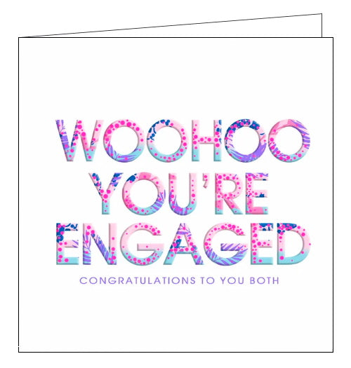 Lola Designs woohoo you're engaged engagement card