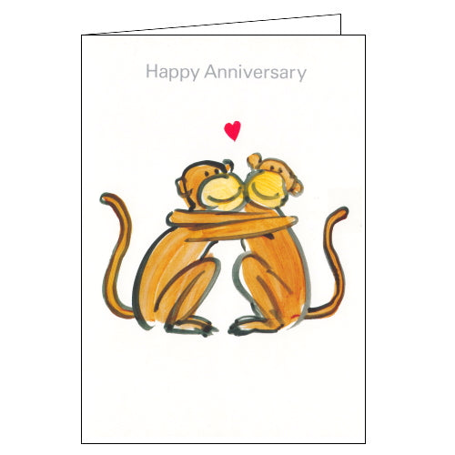Lucilla Lavender monkeys happy anniversary card