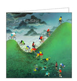Lucy Pittaway pastel art Just to say courageous cyclists bikes road cycling blank card Nickery Nook
