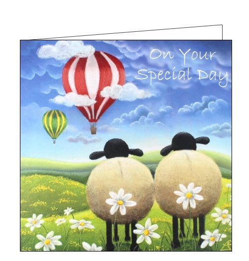 Lucy Pittaway pastel art a cheeky escape sheep love on your special day romantic blank card Nickery Nook
