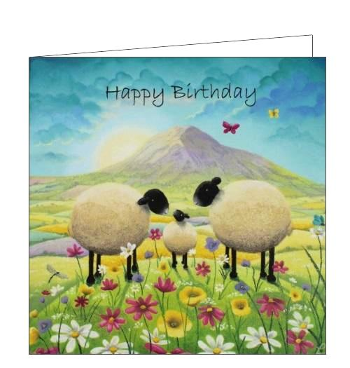 Lucy Pittaway pastel art butterflies and babies sheep family happy birthday card Nickery Nook