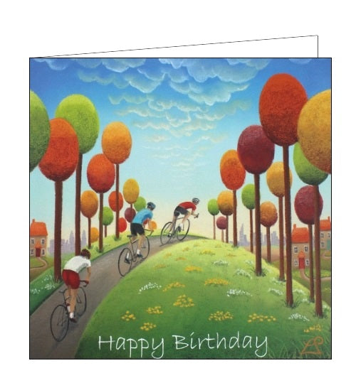 Lucy Pittaway pastel art cyclists bikes road cycling birthday card Nickery Nook