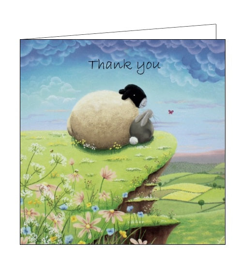 Lucy Pittaway pastel art sheep and bunny thank you card from Nickery Nook