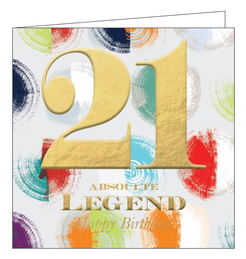 This striking 21st birthday card is decorated with a background of brightly coloured polka, overlaid with embossed gold text that reads