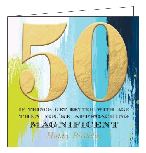 This striking 50th birthday card is decorated with a blue and green watercolour wash background with a large gold embossed