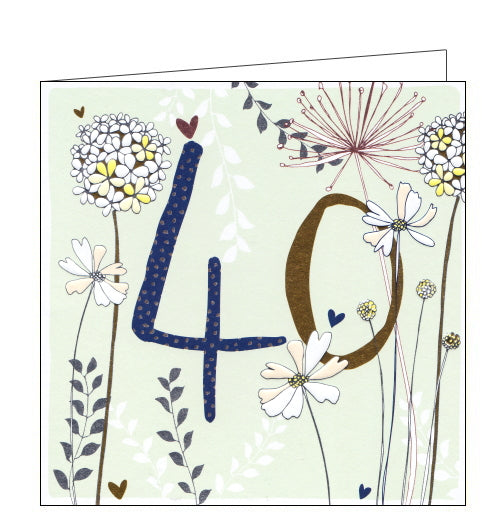 This lovely 40th birthday card is decorated with metallic flowers surrounding a large metallic, patterned