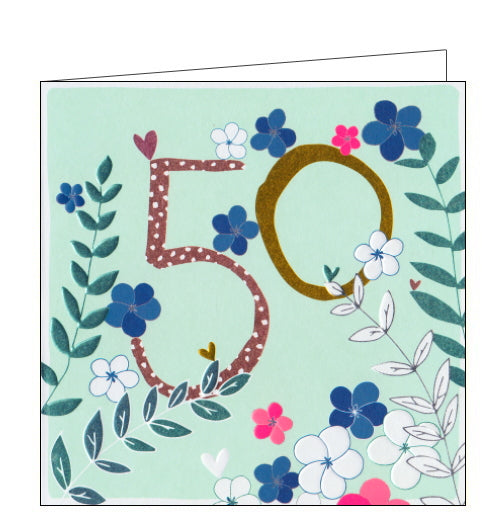 This lovely 50th birthday card is decorated with metallic flowers surrounding a large metallic, patterned