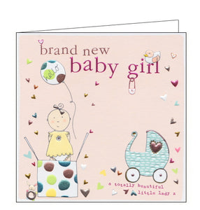 "This lovely little new baby card is decorated with an illustration of a baby girl popping out of a box, along with balloons and stars. The text on the front of the card reads ""brand new baby girl....a totally beautiful little lady x"""