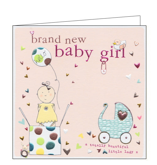This lovely little new baby card is decorated with an illustration of a baby girl popping out of a box, along with balloons and stars. The text on the front of the card reads