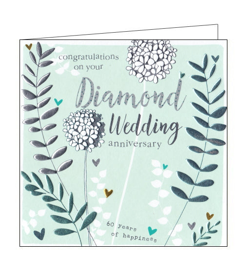 This lovely 60th wedding anniversary card is decorated with metallic flowers and hearts surrounding text that reads
