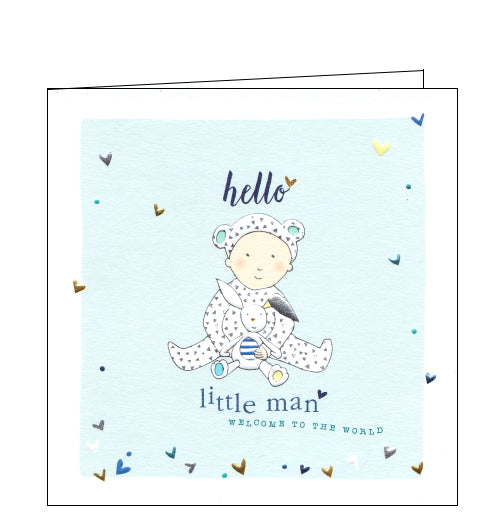 This lovely little new baby card is decorated with an illustration of a baby boy in a printed sleepsuit, with animal ears, cuddling a rabbit fluffy toy. The text on the front of the card reads