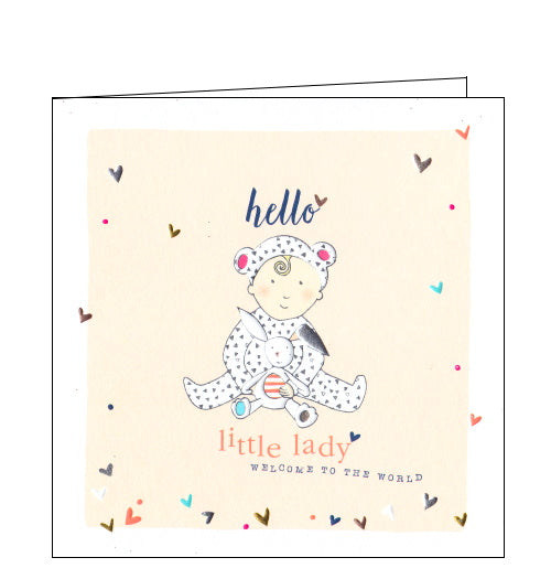 This lovely little new baby card is decorated with an illustration of a baby girl - with a curl of blonde hair, in a printed sleepsuit, with animal ears, cuddling a rabbit fluffy toy. The text on the front of the card reads