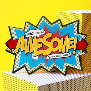 My Design Co bro you're awesome happy birthday comic cracker card Nickery Nook