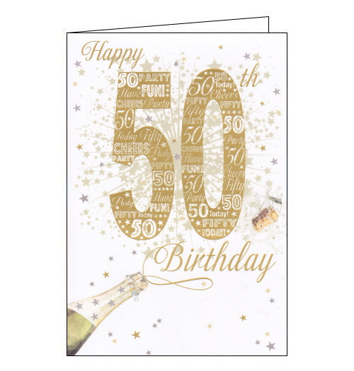 This 50th birthday card is decorated with large gold text that reads