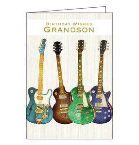 "This birthday card for a special Grandson is decorated with a row of four green and blue guitars. Metallic gold text on the front of the card reads ""Birthday wishes Grandson""."