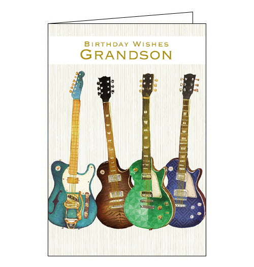 This birthday card for a special Grandson is decorated with a row of four green and blue guitars. Metallic gold text on the front of the card reads