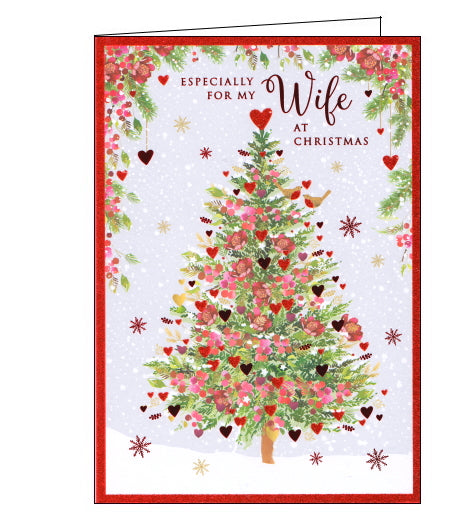 This lovely Christmas card for a wonderful Wife in Law features a scene of a Christmas tree, outside in the snow, decorated with pink flowers and glittery red hearts. A pair of robins stand on a branch together on the tree. Metallic red text on the front of the card reads