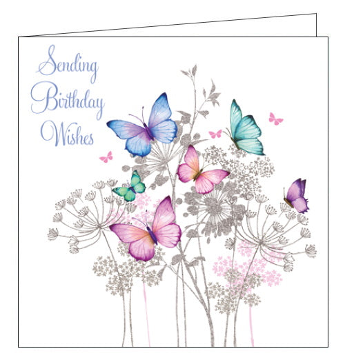 Nigel Quiney pizzaz pink butterflies happy birthday card