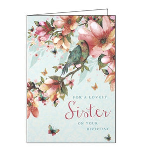 Nigel Quiney birds and blossom Sister birthday card Nickery Nook