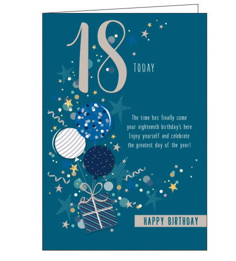 This 18th birthday card is decorated with a bunch of blue and silver balloons tied to a christmas gift. Text on the front of the card reads