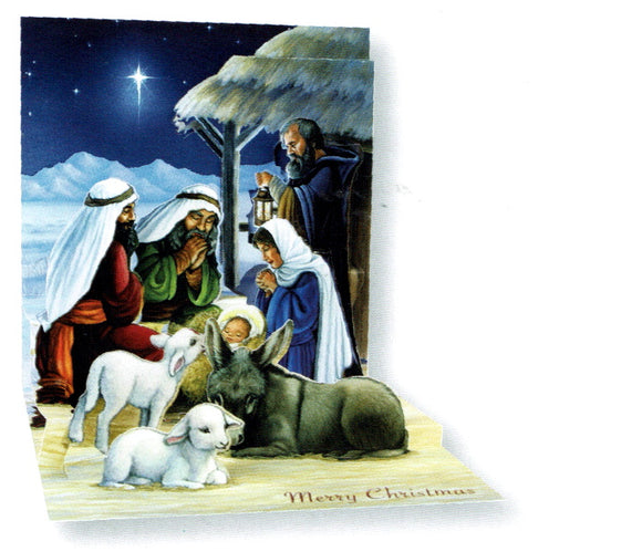 This pop up card is a work of art. This beautiful card folds flat for posting, but pops together to reveal a beautiful traditional scene showing Mary, Joseph, Wise Men and animals gathered around baby Jesus.