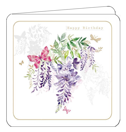 This Birthday card from Noel Tatt's Arabella range features pink and silver butterflies flitting around bunches of purple wisteria. Silver text in the corner of the card reads