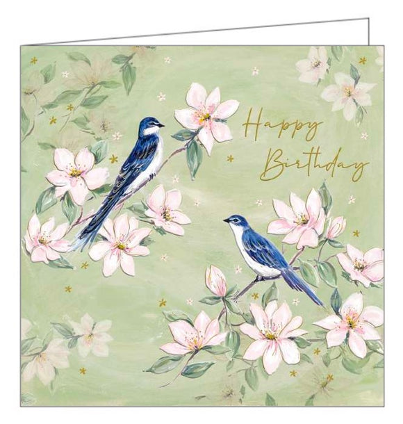 This lovely birthday card is covered with an illustration by Catherine Shaw of two elegant blue tits perched on branches blooming with pink blossom. Gold text on the card reads