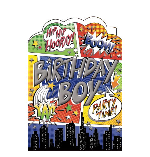 Noel Tatt boom comic book birthday card