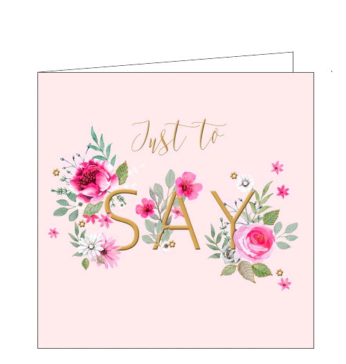 This delicate pink card is decorated with gold text that reads