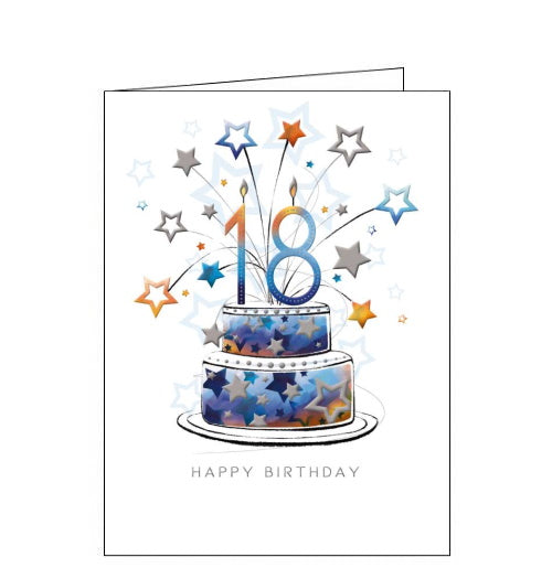 This 18trh birthday card is decorated with a two-tier blue asnd yellow star print birthday cake, topped with star shaped sparklers and a large